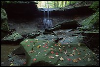 Depression with green rocks and Blue Hen Falls. Cuyahoga Valley National Park, Ohio, USA.