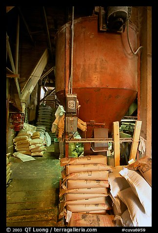 Distributor and bags of bird seeds in Wilson feed mill. Cuyahoga Valley National Park (color)