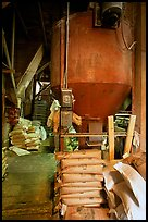 Distributor and bags of bird seeds in Wilson feed mill. Cuyahoga Valley National Park ( color)