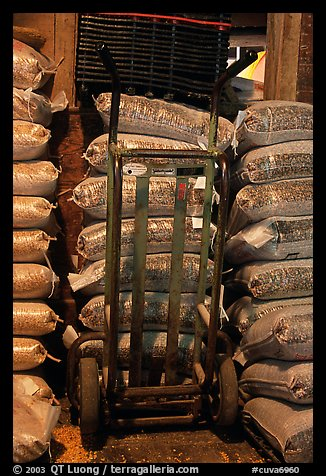 Bags of bird seeds in Wilson feed mill. Cuyahoga Valley National Park (color)