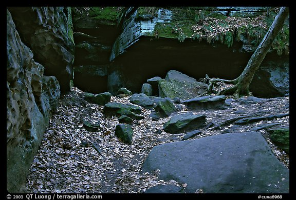 Ice box cave in a cliff at The Ledges. Cuyahoga Valley National Park (color)