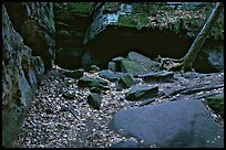 Ice box cave in a cliff at The Ledges. Cuyahoga Valley National Park, Ohio, USA.