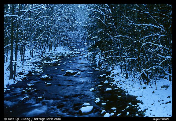 River in snowy forest, Tennessee. Great Smoky Mountains National Park, USA.