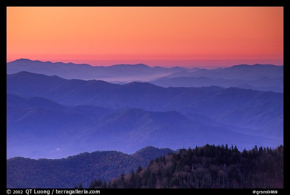 Blue ridges and orange dawn glow from Clingman's dome, North Carolina. Great Smoky Mountains National Park (color)