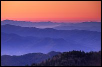 Blue ridges and orange dawn glow from Clingman's dome, North Carolina. Great Smoky Mountains National Park, USA. (color)
