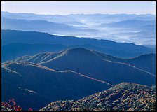Forested and distant ridges in haze seen from Clingmans Dome, North Carolina. Great Smoky Mountains National Park ( color)