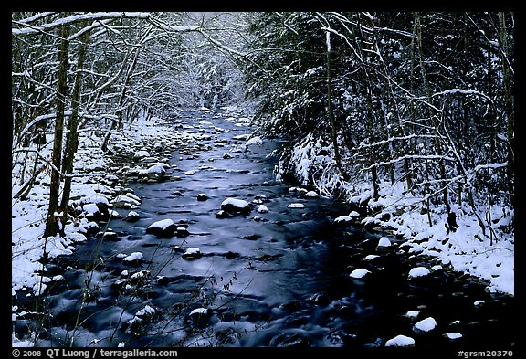Snowy creek in winter. Great Smoky Mountains National Park, USA.