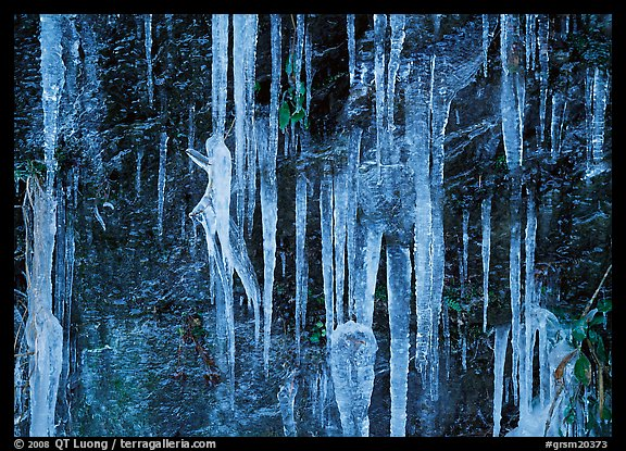 Icicles and rock wall. Great Smoky Mountains National Park (color)