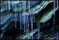 Rock, Icicles and snow, Tennessee. Great Smoky Mountains National Park, USA.