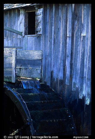 Water flowing on the wheel of mill, Cades Cove, Tennessee. Great Smoky Mountains National Park (color)