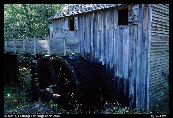 Water-powered gristmill, Cades Cove, Tennessee. Great Smoky Mountains National Park (color)