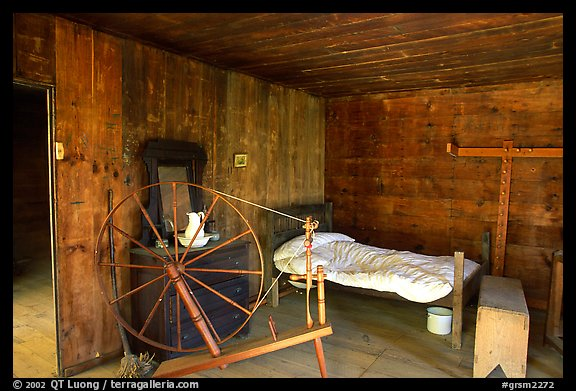Cabin interior with rural historic furnishings, Cades Cove, Tennessee. Great Smoky Mountains National Park (color)