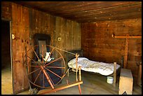 Cabin interior with rural historic furnishings, Cades Cove, Tennessee. Great Smoky Mountains National Park, USA.