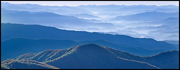 Hazy Appalachian mountaintop ridges. Great Smoky Mountains National Park (Panoramic color)
