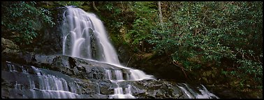 Waterfall in decidous forest. Great Smoky Mountains National Park (Panoramic color)