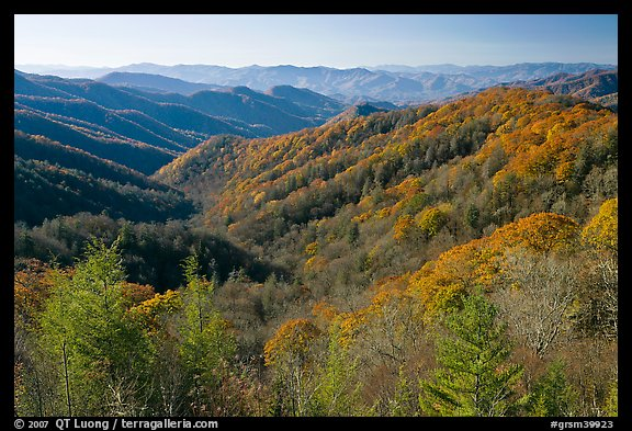 Vista of valley and mountains in fall foliage, morning, North Carolina. Great Smoky Mountains National Park (color)