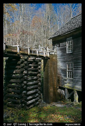 Millrace and Mingus grist mill, North Carolina. Great Smoky Mountains National Park (color)