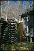 Millrace and Mingus grist mill, North Carolina. Great Smoky Mountains National Park, USA. (color)