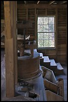 Main room of Mingus Mill, North Carolina. Great Smoky Mountains National Park, USA.