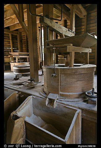 Turbine-powered grist stones inside Mingus Mill, North Carolina. Great Smoky Mountains National Park (color)