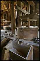 Turbine-powered grist stones inside Mingus Mill, North Carolina. Great Smoky Mountains National Park, USA.