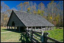 Cantilever barn and fence, Oconaluftee, North Carolina. Great Smoky Mountains National Park, USA. (color)
