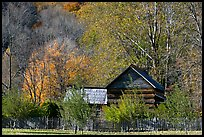 Historic log building, Mountain Farm Museum, North Carolina. Great Smoky Mountains National Park, USA. (color)