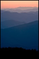 Mountain ridges seen seen from Clingman Dome and sunrise glow, North Carolina. Great Smoky Mountains National Park, USA.