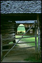 Barn seen through another barn, Cades Cove, Tennessee. Great Smoky Mountains National Park, USA. (color)