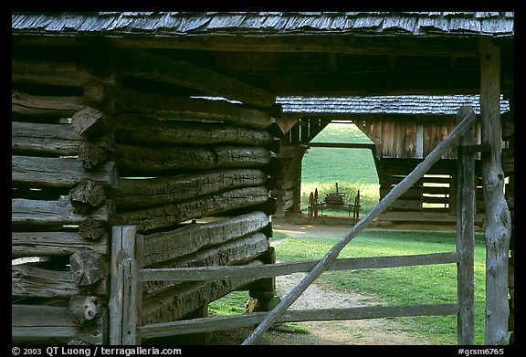 Historic barns, Cades Cove, Tennessee. Great Smoky Mountains National Park (color)