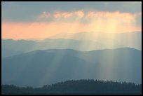 God's rays and ridges from Clingmans Dome, early morning, North Carolina. Great Smoky Mountains National Park, USA.