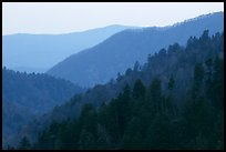 Ridges from Morton overlook, dusk, Tennessee. Great Smoky Mountains National Park, USA.