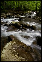 Boulders in confluence of rivers, Greenbrier, Tennessee. Great Smoky Mountains National Park, USA. (color)