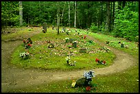 Pioneer Cemetery in forest clearing, Greenbrier, Tennessee. Great Smoky Mountains National Park, USA.