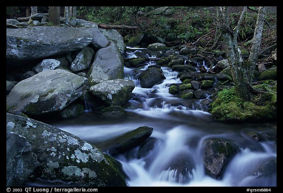 Roaring Fork River Cascades and boulders, Tennessee. Great Smoky Mountains National Park (color)