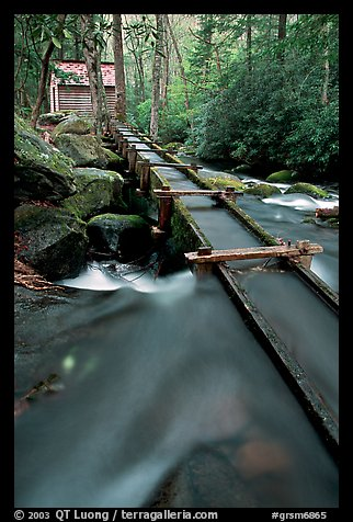 Flume to Reagan's Mill from Roaring Fork River, Tennessee. Great Smoky Mountains National Park (color)
