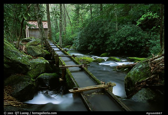 Flume carrying water to Reagan's mill next to Roaring Fork River, Tennessee. Great Smoky Mountains National Park, USA.
