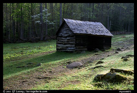 Jim Bales log Cabin in meadow, early morning, Tennessee. Great Smoky Mountains National Park (color)