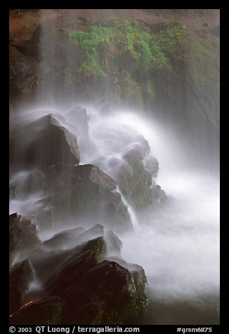 Misty water falling on dark rocks, Grotto falls, Tennessee. Great Smoky Mountains National Park (color)