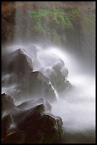 Misty water falling on dark rocks, Grotto falls, Tennessee. Great Smoky Mountains National Park, USA.