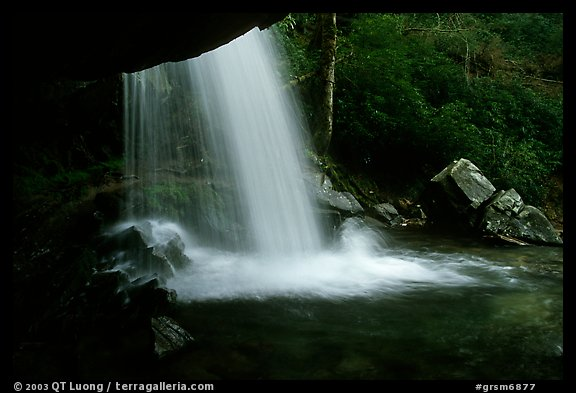 Grotto falls from behind, evening, Tennessee. Great Smoky Mountains National Park (color)