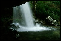 Grotto falls from behind, evening, Tennessee. Great Smoky Mountains National Park, USA.