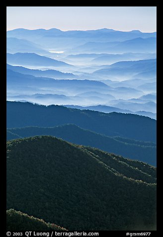 Hazy Ridges seen from Clingmans Dome, North Carolina. Great Smoky Mountains National Park (color)