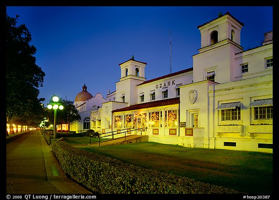 Ozark Bath and Bathhouse row at night. Hot Springs National Park (color)