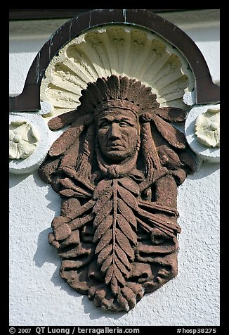 Bas relief depicting Indian chief on Quapaw Baths facade. Hot Springs National Park, Arkansas, USA.