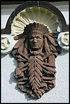 Bas relief depicting Indian chief on Quapaw Baths facade. Hot Springs National Park, Arkansas, USA. (color)