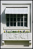 Window and shades, Ozark Baths. Hot Springs National Park, Arkansas, USA. (color)