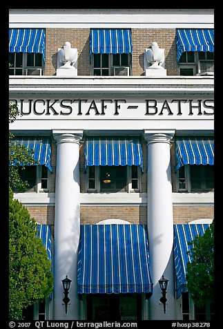 Blue shades, Buckstaff Baths. Hot Springs National Park (color)