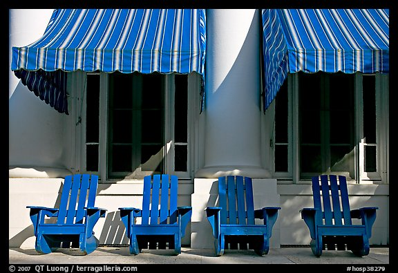 Blue chairs, windows, and shades, Buckstaff Baths. Hot Springs National Park (color)