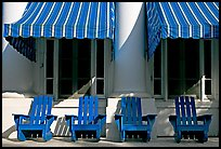 Blue chairs, windows, and shades, Buckstaff Baths. Hot Springs National Park, Arkansas, USA. (color)